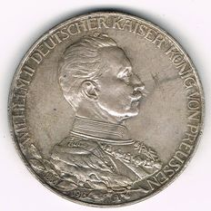 German Empire, Prussia - 3 Mark 1913 A 25th Year of Reign - silver