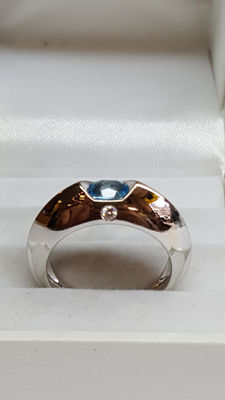 Piaget - 18 kt white gold women's Piaget ring set with aquamarine and diamond - ring size 17.5
