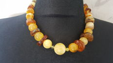 Natural Baltic Amber necklace egg yolk and cognac colour, 57 grams
