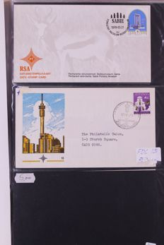 South Africa / South West Africa / Transkei 1950/1990 – Batch of FDCs/covers/postal pieces/maximum cards in 6 albums