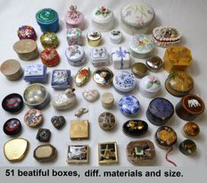 Collection of 51 vintage jewelry, pill boxes and jewelry boxes.