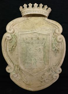 "Hand carved Bronzetto marble coat of arms - ""Della Torre"" family - Italy, Milan-Late 19th century"