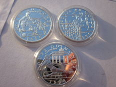 France - 10 francs 1998 'World Cup' (lot of 3 coins) - Silver.