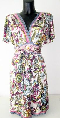 Hale Bob designer dress with a pattern print, silk, with a low-cut back.