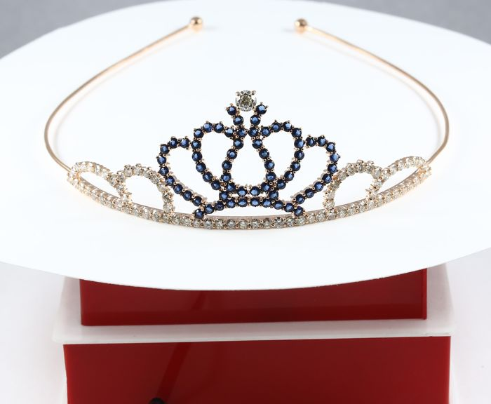 IGI Certified Rose Gold Diamond and Blue Sapphire Tiara/Head Gear