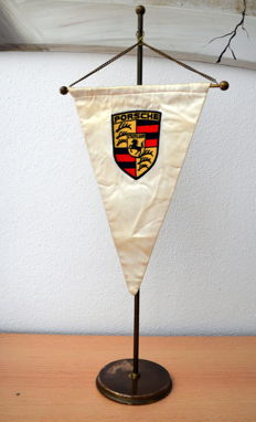 Original Porsche pennant - table pennant - 1970s - Pennant gold - 52 cm