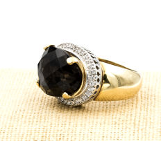 Yellow gold 18 kt/750 - Cocktail Ring - Cut brown quartz - Cocktail ring size: 13 (ES)