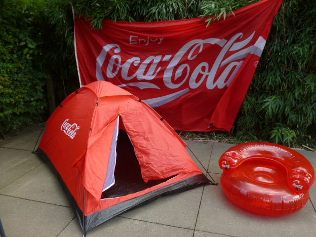 COCA COLA, Tent, Inflatable seat, flag 2 by 3 m.