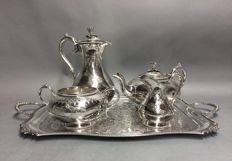 Magnificent silver plated tea- and coffee set on a serving tray, James Dixon & Sons, England, ca. 1885