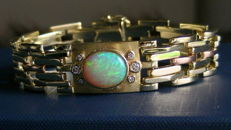 Bracelet, full opal with brilliants, 585 gold, 36.2 grams