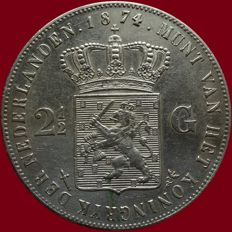 The Netherlands – 2½ guilder coin 1874 (first half of the year), Willem III – silver