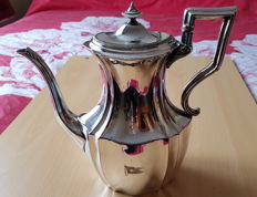Large silver plated coffee pot engraved with the flag of the White Star Line shipping company