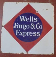 Enamelled plate. Advertising. Wells Fargo & Co. Express. 1940s USA