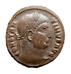 Roman Empire - Constantine I the Great (307-337 A.D.) bronze follis (4,42 g. 18 mm.). Thesalonica mint. PROVIDENTIAE AVGG. SMTSA. Campgate.