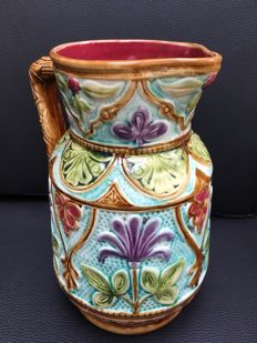Art Deco Majolica water van with  floral decor - Very decorative colours - Faïencerie de Nimy earthenware