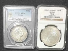 World - Germany (Prussia 3 Mark 1908-A) & Mexico (Peso 1898 Mo 'Restrike') - Lot of 2 coins - Silver