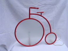 Designer unknown – Miniature Penny-farthing bicycle – Metal and matte glass in wheels