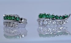 1.32 ct Emerald and Diamond earrings - No reserve price!