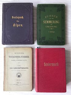 4 travel guide books in German -  1866 /  1926