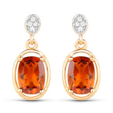 14 kt gold earrings with Madeira citrine and diamonds of 0.04 ct ***no reserve price***
