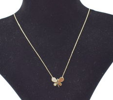 14 K yellow gold Butterfly necklace  ,  chain length :  45 cm