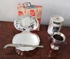 Vintage 1971 viners of sheffield silver plated miniature wine cooler & queen anne silver plated shell shaped butter dish
