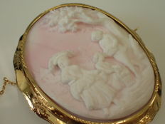Wonderful Vintage Cameo Brooch, large size, length  55 mm