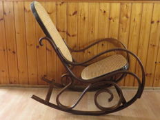 Retro carved rocking chair rattan, 2nd half 20th century