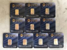 10 pcs. gold bars, each 0.10g Nadir PIM fine gold, 999.9/1000 gold, 24 Karat, LBMA certified