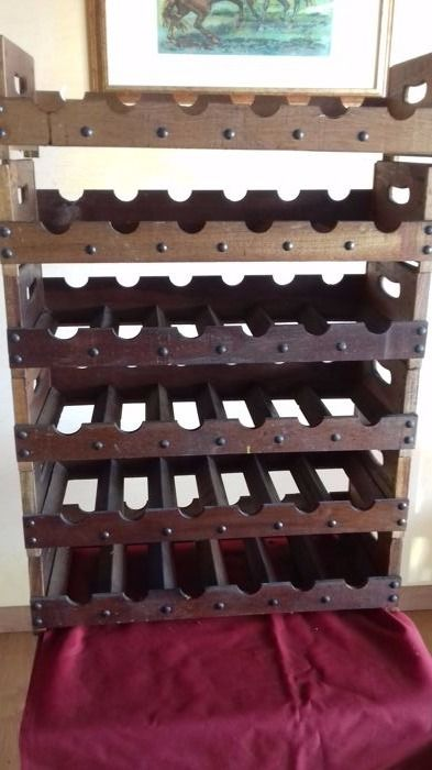 Six solid professional wine racks made of wood - for 36 bottles in total