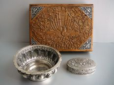 3 djokja silver utensils namely a wooden presentation box with djokja decoration, djokja dish and a djokja pill box