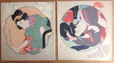 Two coloured woodblock prints by Katsuhika Hokumei (act. 1804-30) and Kitagawa Utamaro (1753-1806) – Women on background with beautiful design ('pillow print' model) – Japan – Around 1920