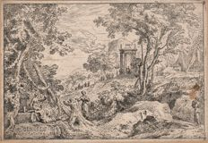 Abraham Genoels ( 1640 - 1723)  - Landscape with classical theme  - Signed and dated 1684  / (added a second etching by Genoels)