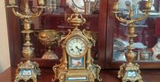 Antique watch sevres watch and bronze candelabra and golden calamine