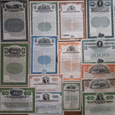 The New York Central Railroad Company (and Hudson River varieties) 1892 – 1956.  Lot of 15 different items.