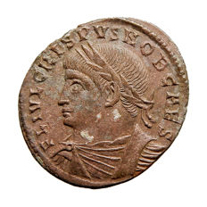 Roman Empire - Crispus (316-326 A.D.) bronze follis (2,56 g. 19 mm). Rome mint 326-327 A.D.  PROVIDENTIAE CAESS. R wheath Q. Campgate.