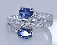 Tanzanite and Diamonds bypass ring - Size: 13- No reserve price!