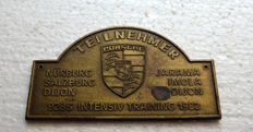 Original Porsche  928S INTENSIVE TRAINING 1982 PARTICIPANTS Badge DASH PLAQUE - 10 x 6 cm