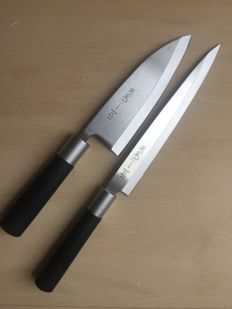 2- Japanese ( Sashimi  & Deba)   professional chef kitchen knife, very sharp.