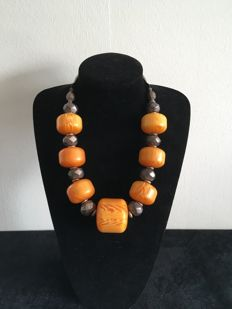 Ethnic necklace with large, amber coloured beads