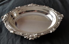 Silver plated fruit bowl by Elkington & Co engraved with the flag of the White Star Line shipping company