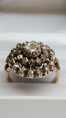 14 karat gold antique ring set with 29 rose cut diamonds