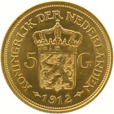 The Netherlands – 5 guilder coin,  1912, Wilhelmina, gold