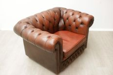 Padded Chesterfield armchair - circa 2000, England