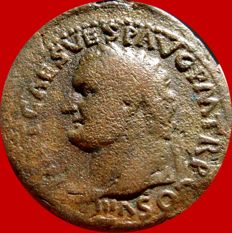 Roman Empire - Titus as Caesar (AD 69-79) bronze as (8,74 g. 27 mm.), Rome mint, 76 A.D. AEQVITAS AVGVST. Rare