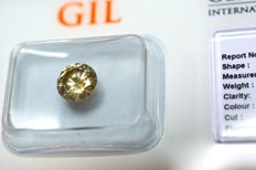 1.15 ct. Brilliant cut diamond, natural, fancy greenish yellow VG/VG/V SI1 - no reserve price