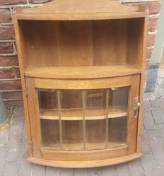 French wall cabinet with cut glass windows