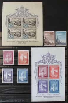 Vatican, 1952/58 - Sheets # 1 and 2; Air mail. Domes 1953 # 22, 23.