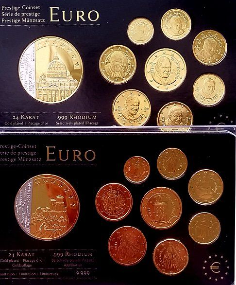 San Marino and Vatican - 1 cent through 2 euro 2010 and 2011 ´Prestige  sets´(2 different ones) ennobled + medal - Catawiki