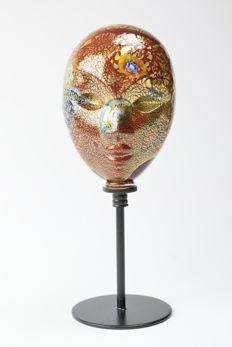 Lorenzo Ferro (Ferro Glassworks) - gold leaf Venetian mask with base